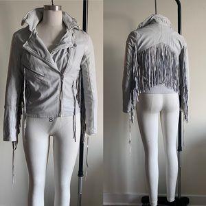 BlankNYC Stone Grey Fringe Vegan Leather Jacket XS